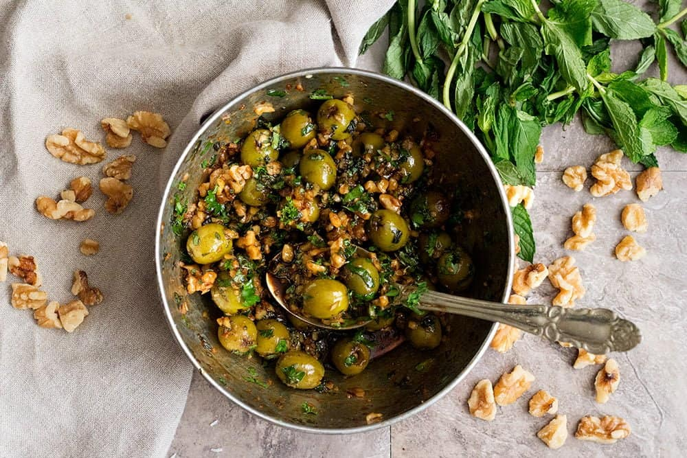 Let the marinated olives chill in the fridge for at least a night.