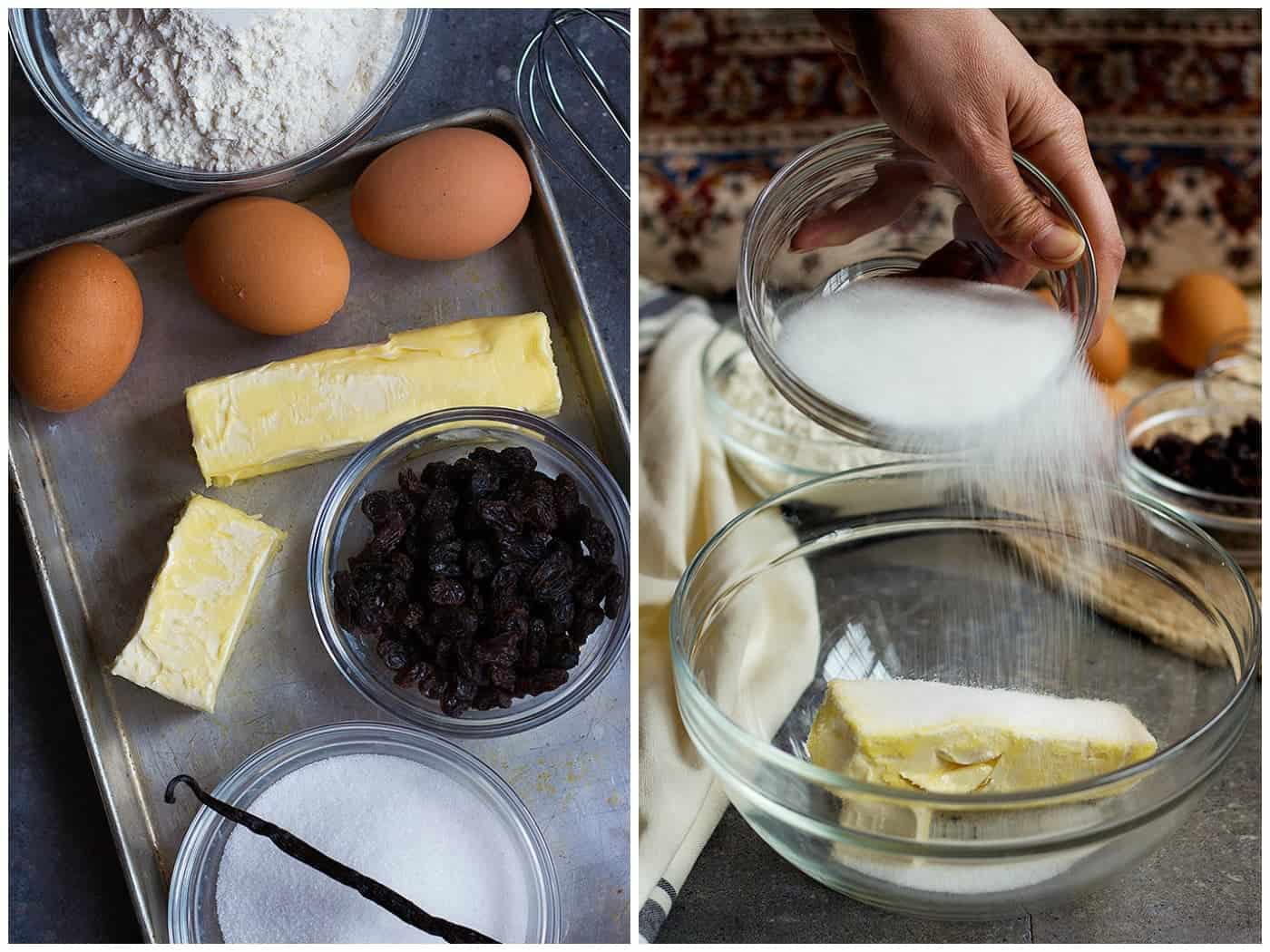 For making Persian Raisin Cookies you need eggs, butter, raisin, flour, sugar and vanilla. Mix butter and sugar in a large bowl.