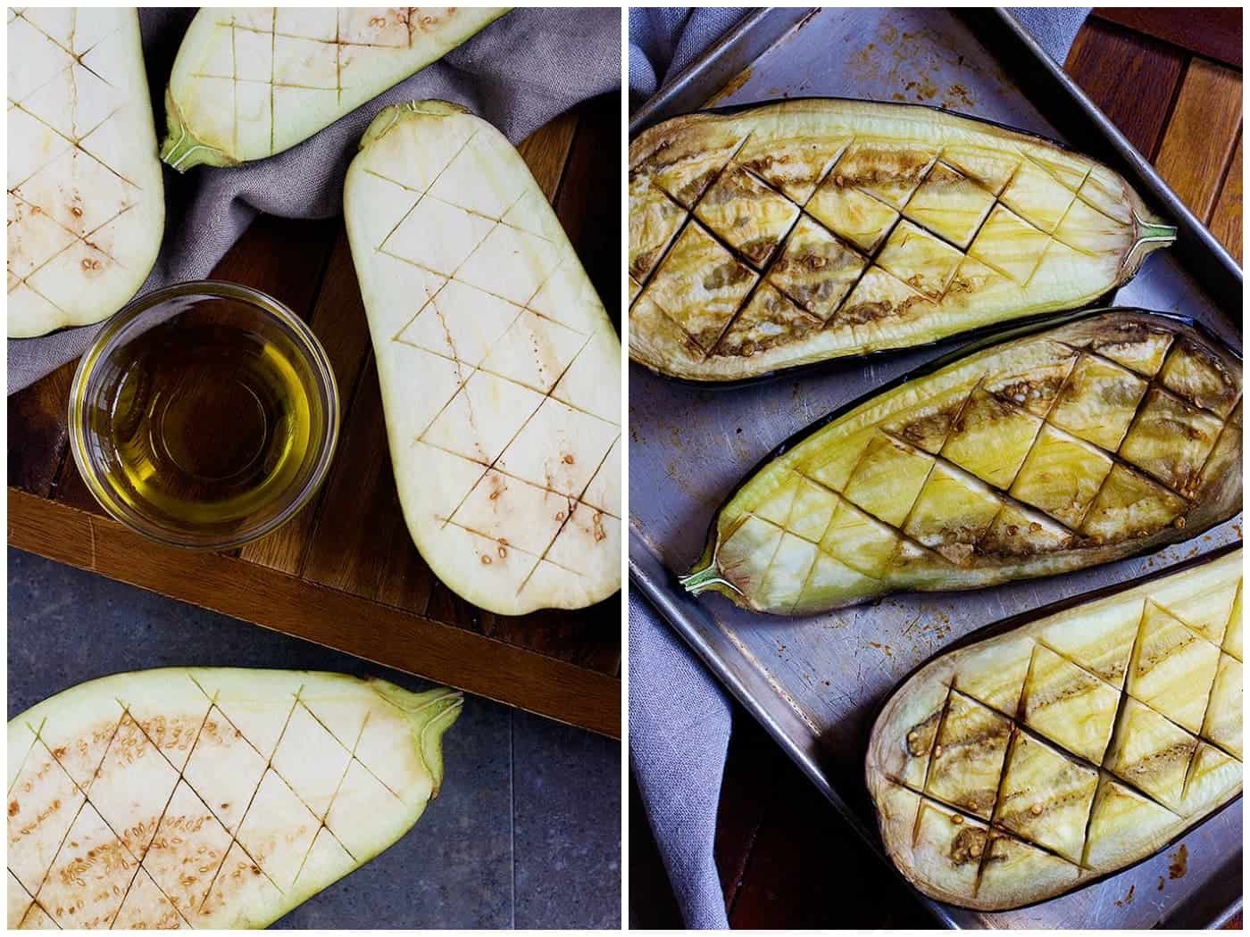 To make Stuffed Eggplant, cut diamonds on the eggplant and roast in the oven.