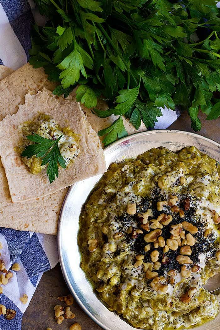This Persian eggplant recipe known as kashke bademjan is the perfect appetizer for parties.