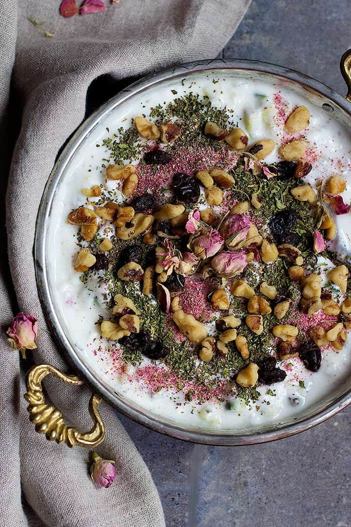 Mast o Khiar is a traditional Persian yogurt and cucumber dip that is light and flavorful.