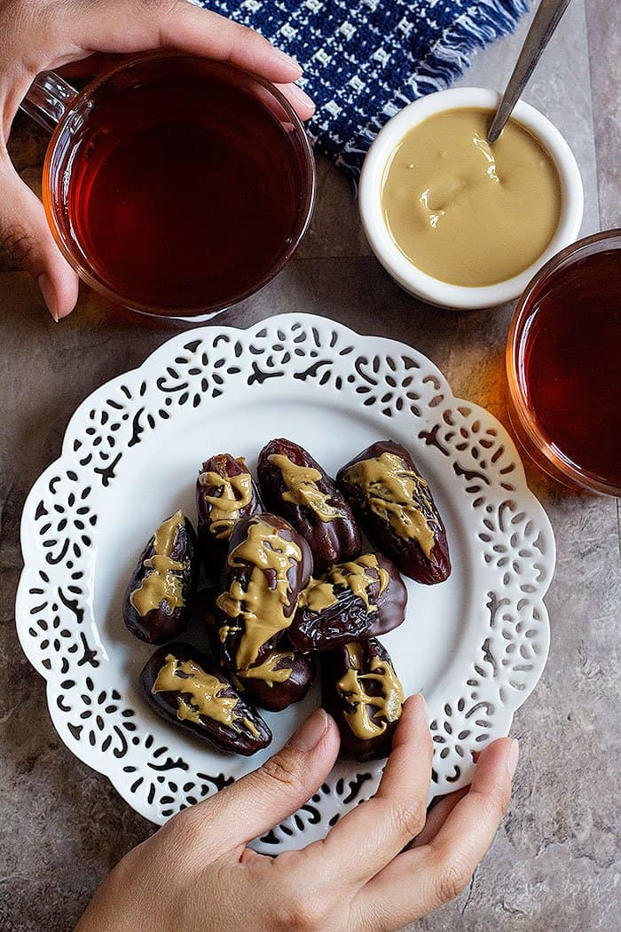 These vegan stuffed dates are perfect with a cup of tea.