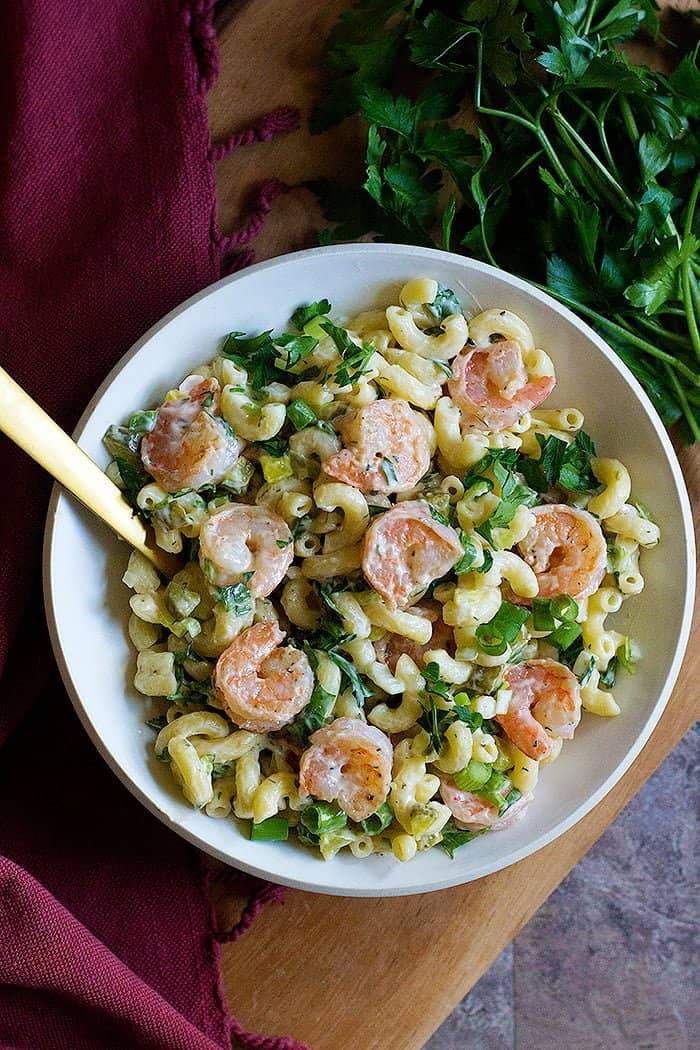 This easy shrimp pasta salad is packed with so much flavor. Learn how to make the best shrimp macaroni salad that will rock your parties and potlucks.