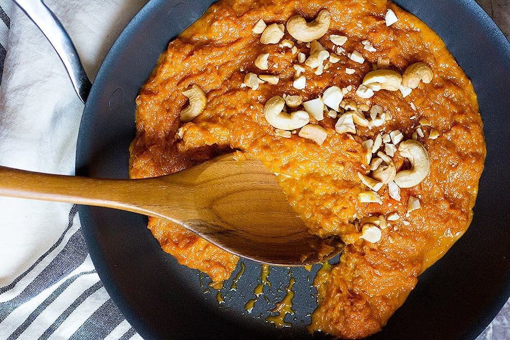 To make gajar halwa, saute carrots and then add milk and cook until liquid is gone.
