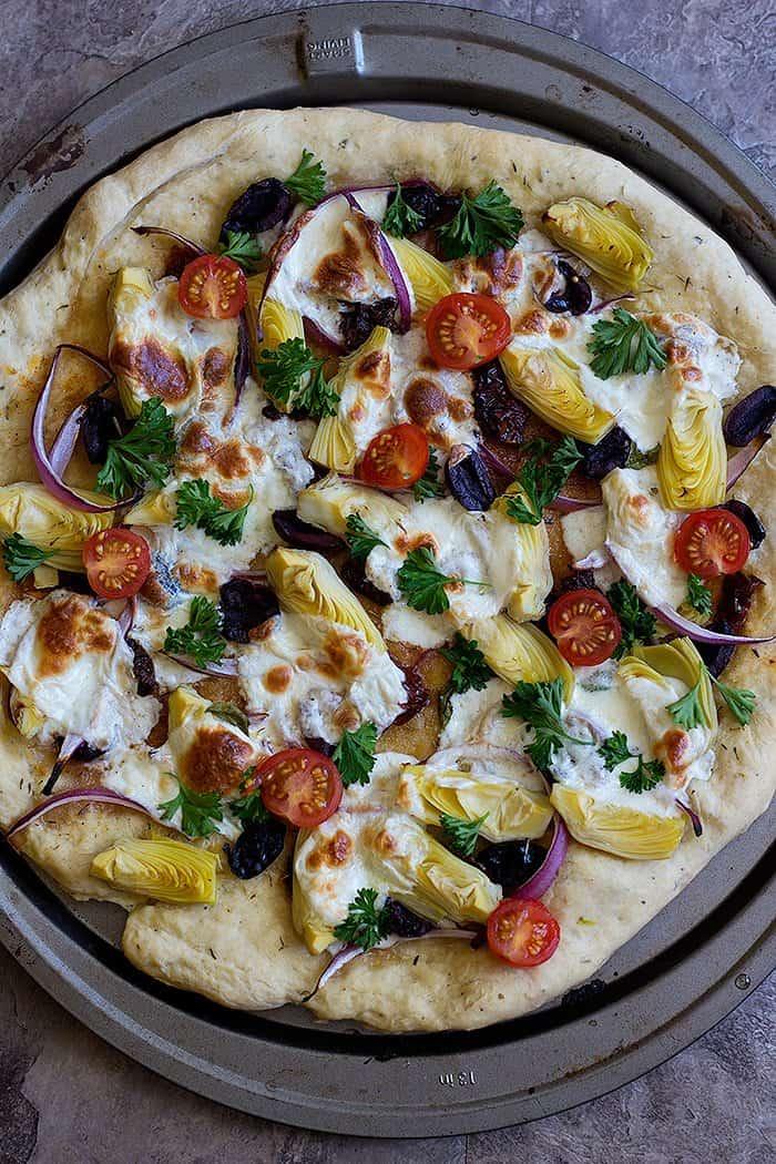 It's best to make the Mediterranean pizza flatbread recipe on a pizza stone.