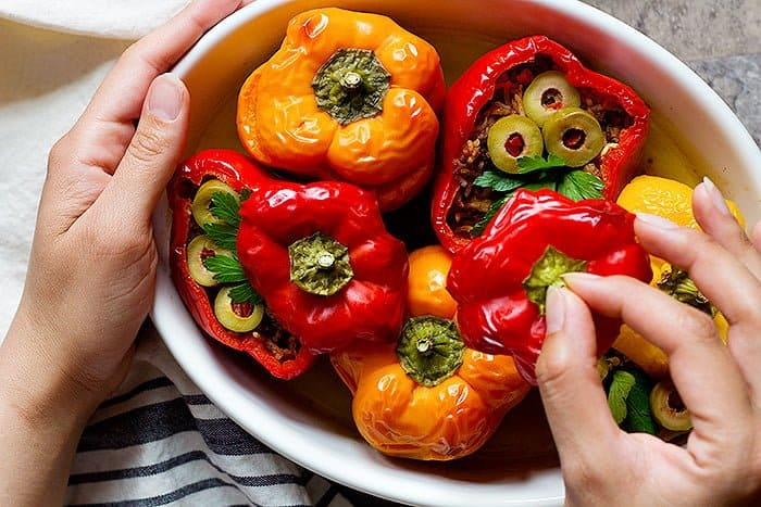 These healthy stuffed peppers are delicious and easy to make. Everyone loves them.