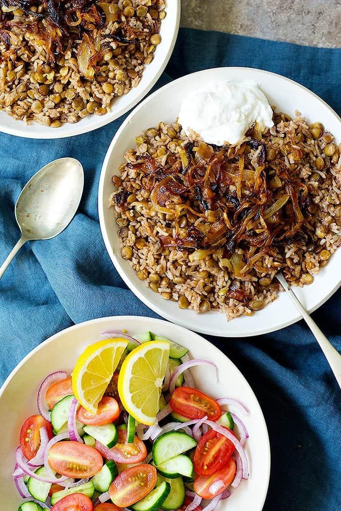 Mujadara is a simple lebanse lentil and rice dish with crispy onions that's packed with flavors. You can serve it with a simple salad.