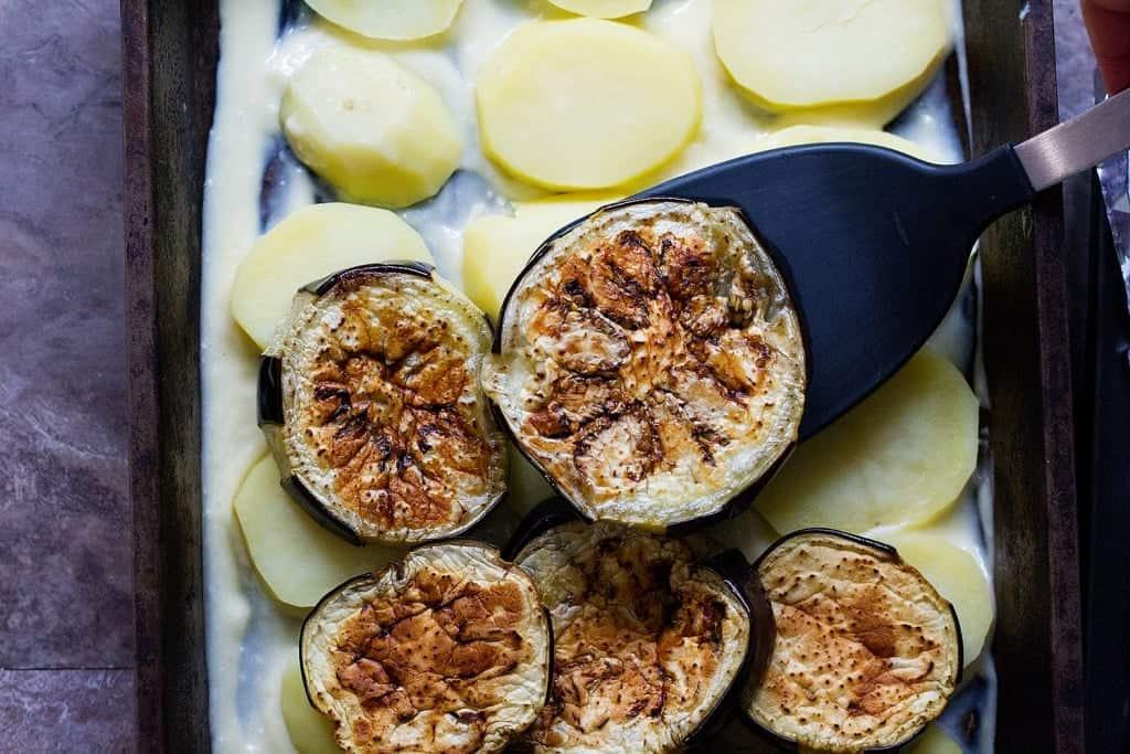 Top with eggplants