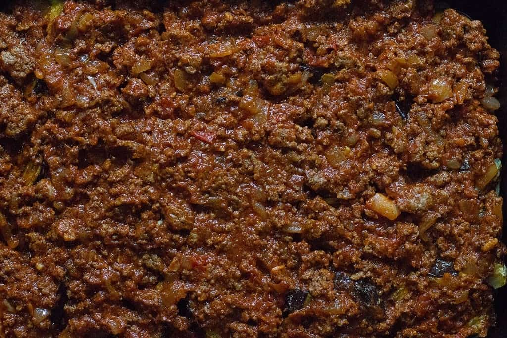 top with meat sauce