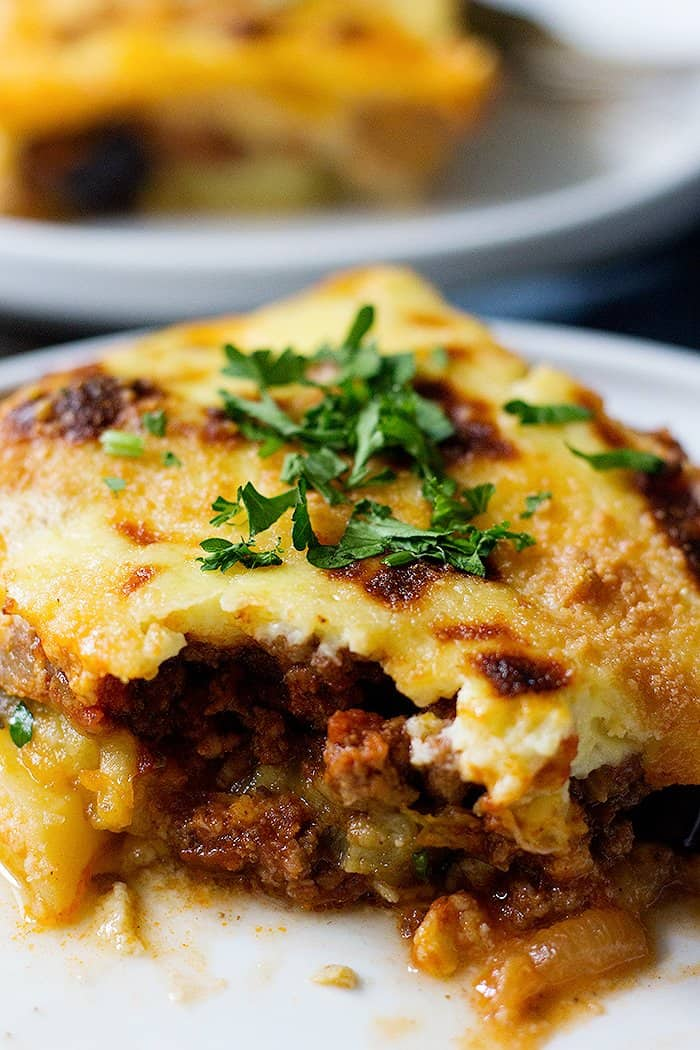 Greek moussaka is an easy eggplant casserole that's perfect for a weeknight dinner.