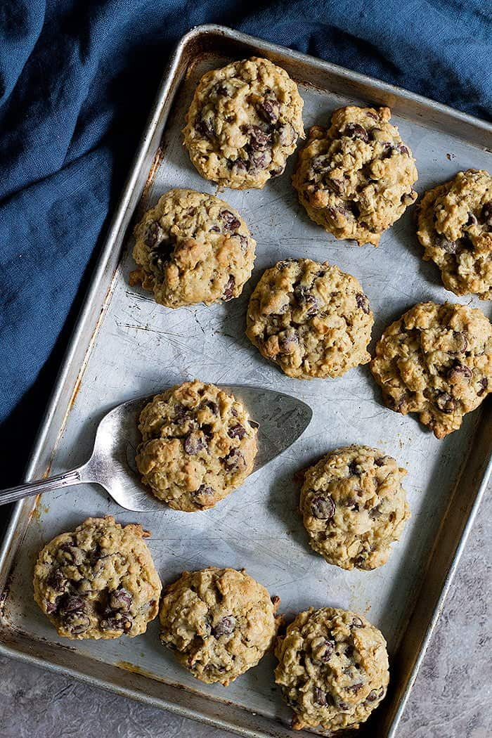 These oatmeal chocolate chip cookies are chewy and incredibly soft. Loaded with chocolate and oats, they're super easy to make!