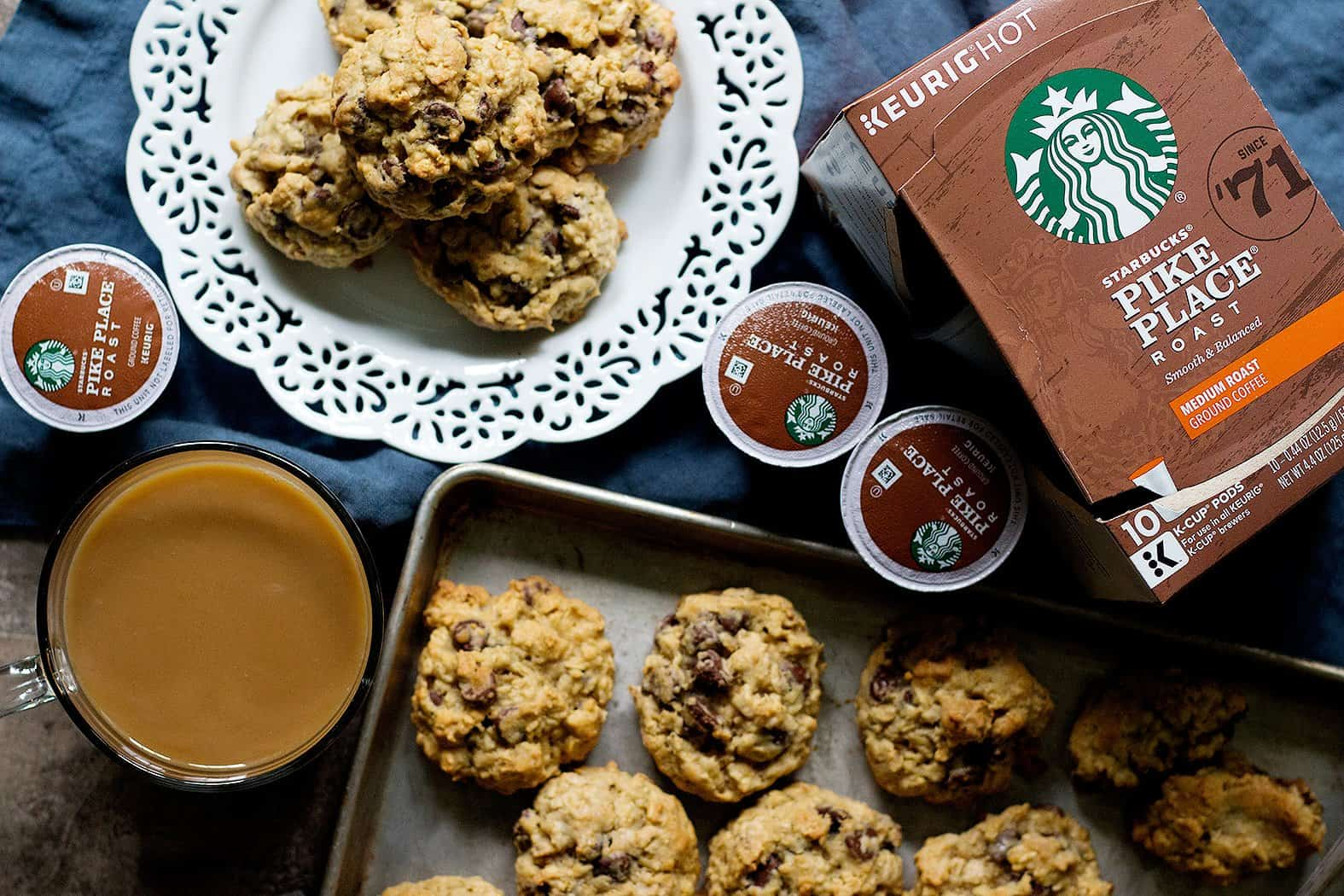Serve chewy oatmeal chocolate chip cookies with coffee.