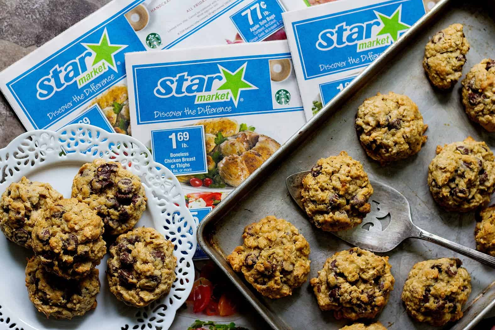 Let the chocolate chip oatmeal cookies cool down a bit and enjoy.