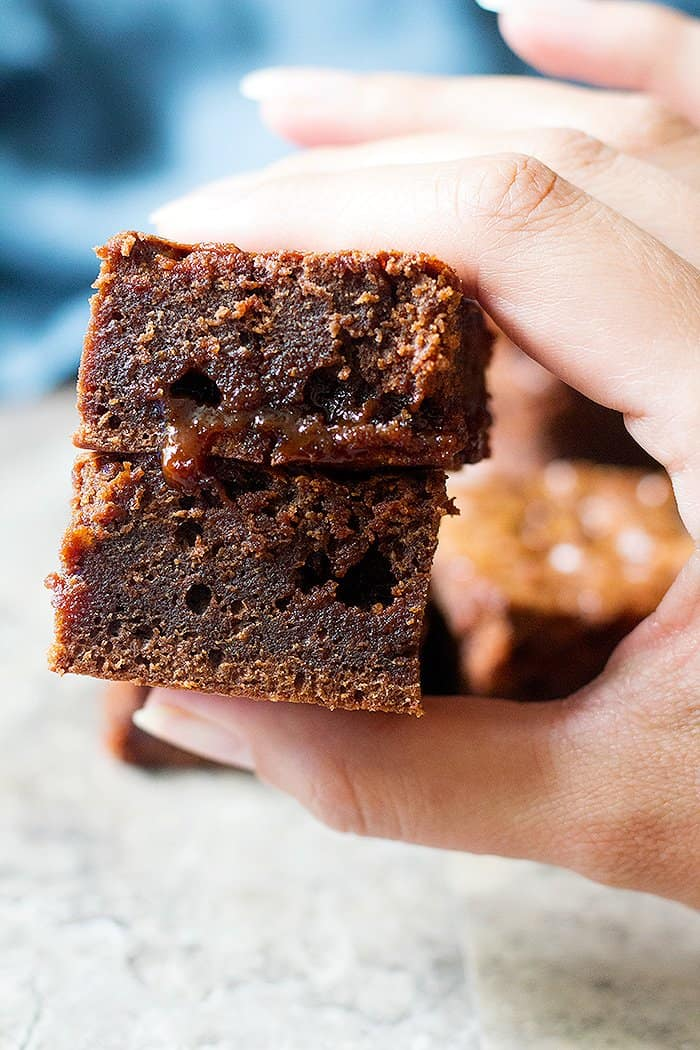 Caramel brownies are the perfect snack!