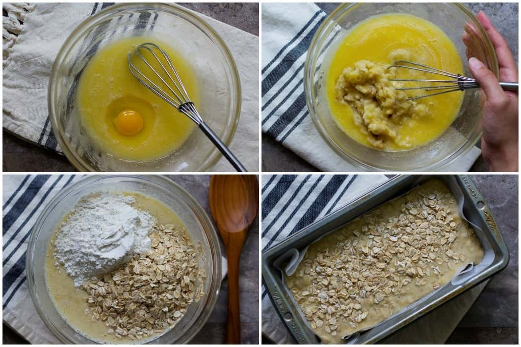 How to make oatmeal banana bread: mix oil and sugar, add in eggs and bananas then dry ingredients and bake in the oven.