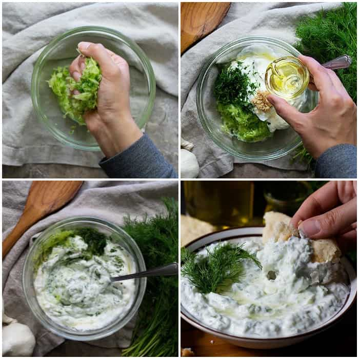 grate and squeeze the cucumbers, add olive oil, yogurt, dill and garlic, mix together and serve cold.
