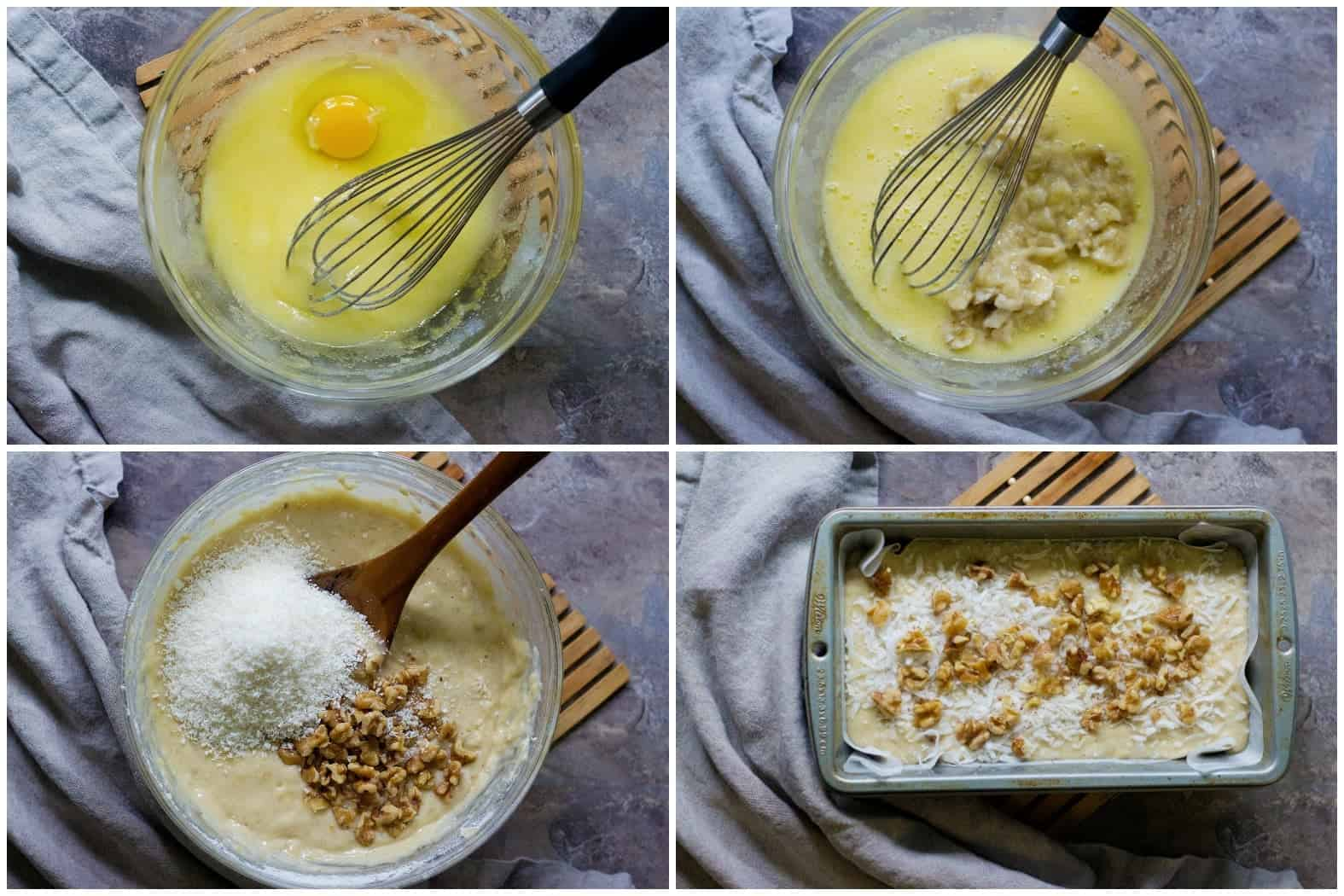 To make coconut banana bread mix sugar and oil then add eggs, bananas and dry ingredients. Mix in coconut and walnuts and transfer to the loaf pan.