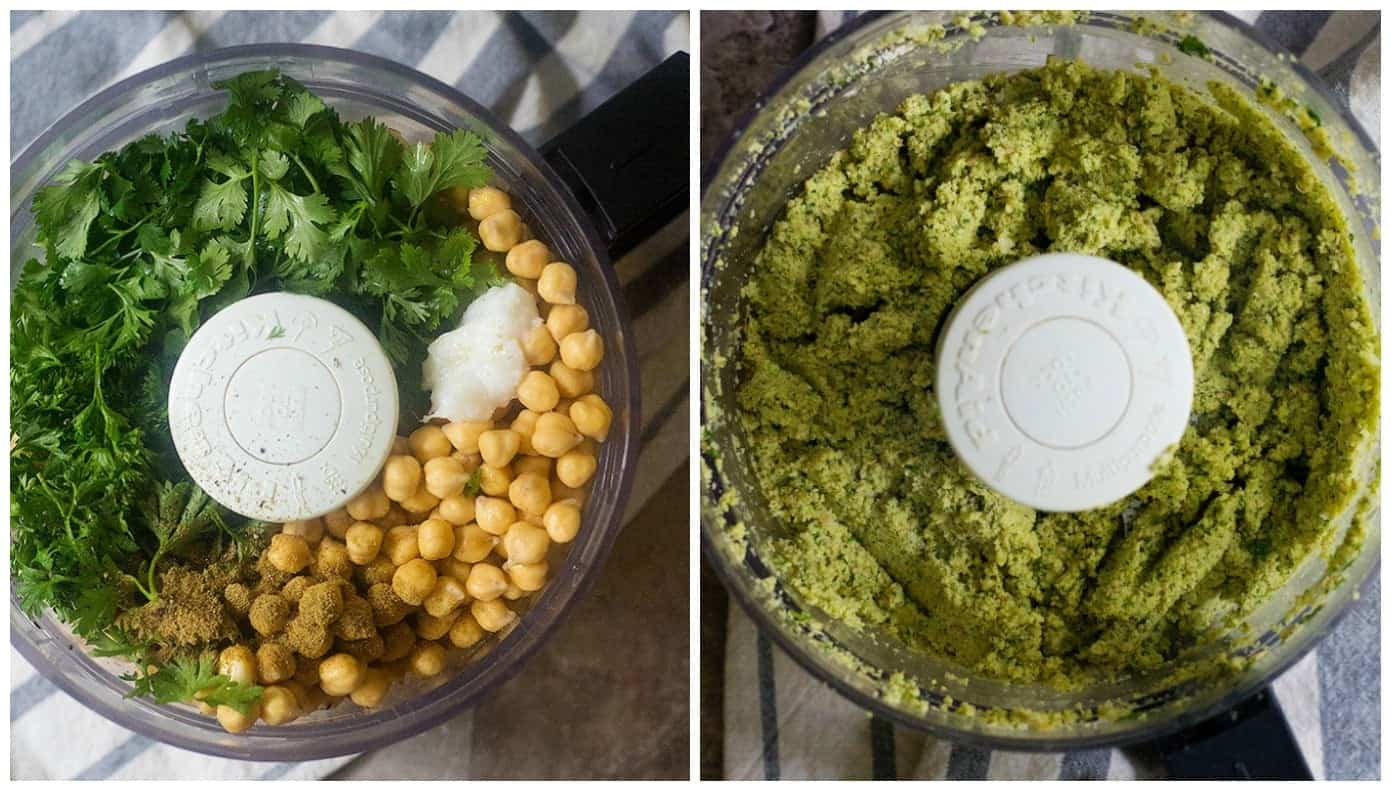 To make falafel patties, place chickpeas, parsley, cilantro, garlic, onion and spices in a food processor and process until you have a smooth paste.