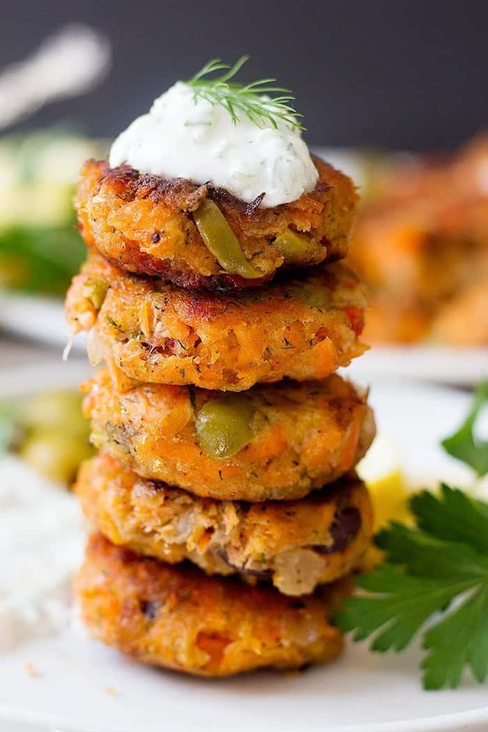 Serve easy salmon patties with tzatziki sauce.