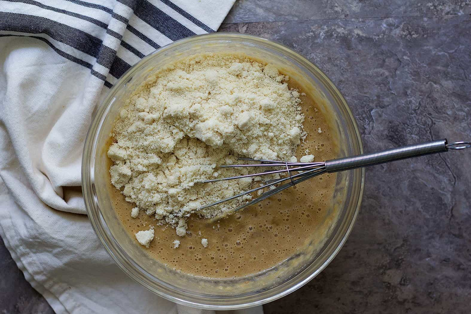 Add in bananas and almond flour and the banana bread batter is ready.