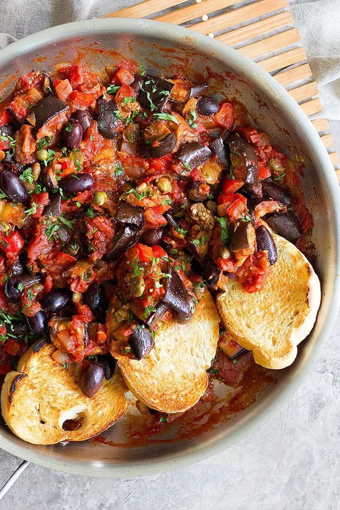 Eggplant caponata is a delicious Mediterranean side dish.