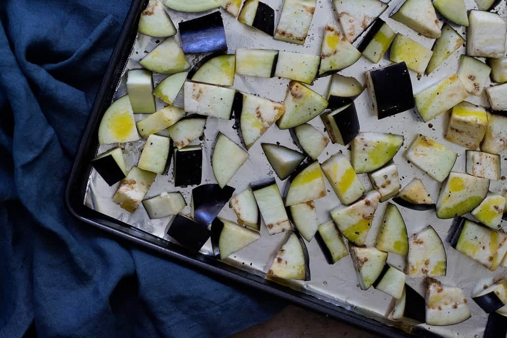 You can cut eggplant into cubes and then roast them.