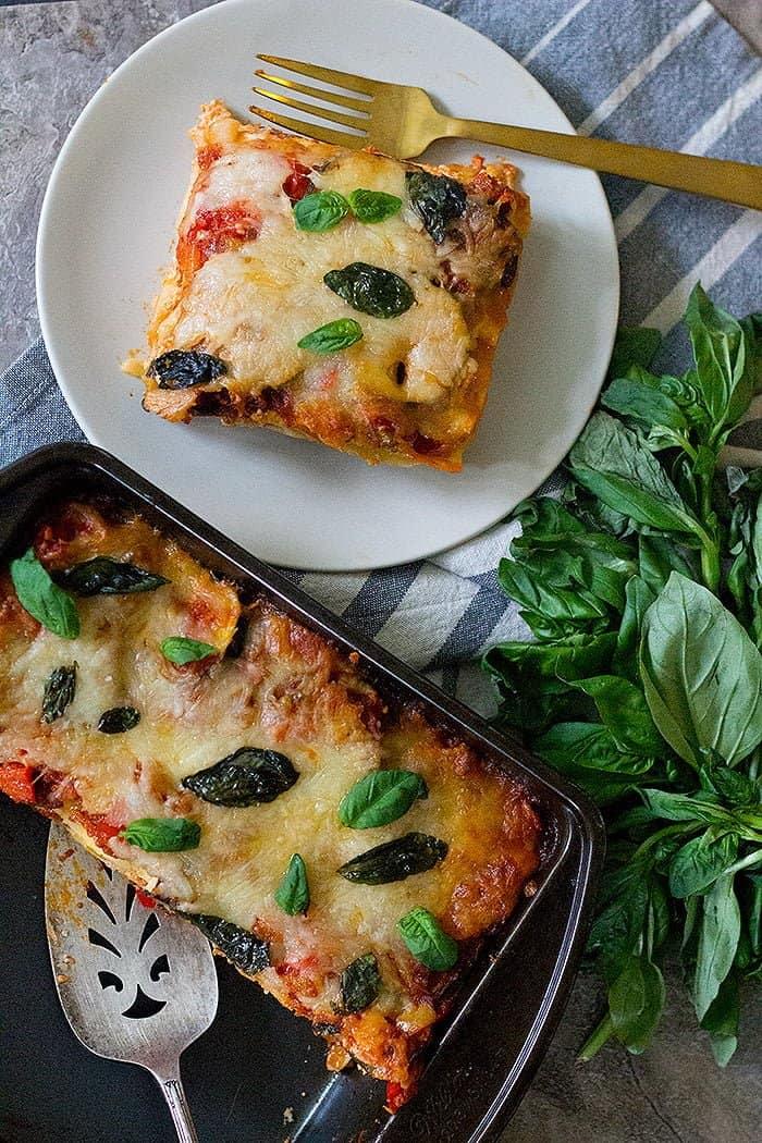 For more flavor top vegetarian lasagna with basil.