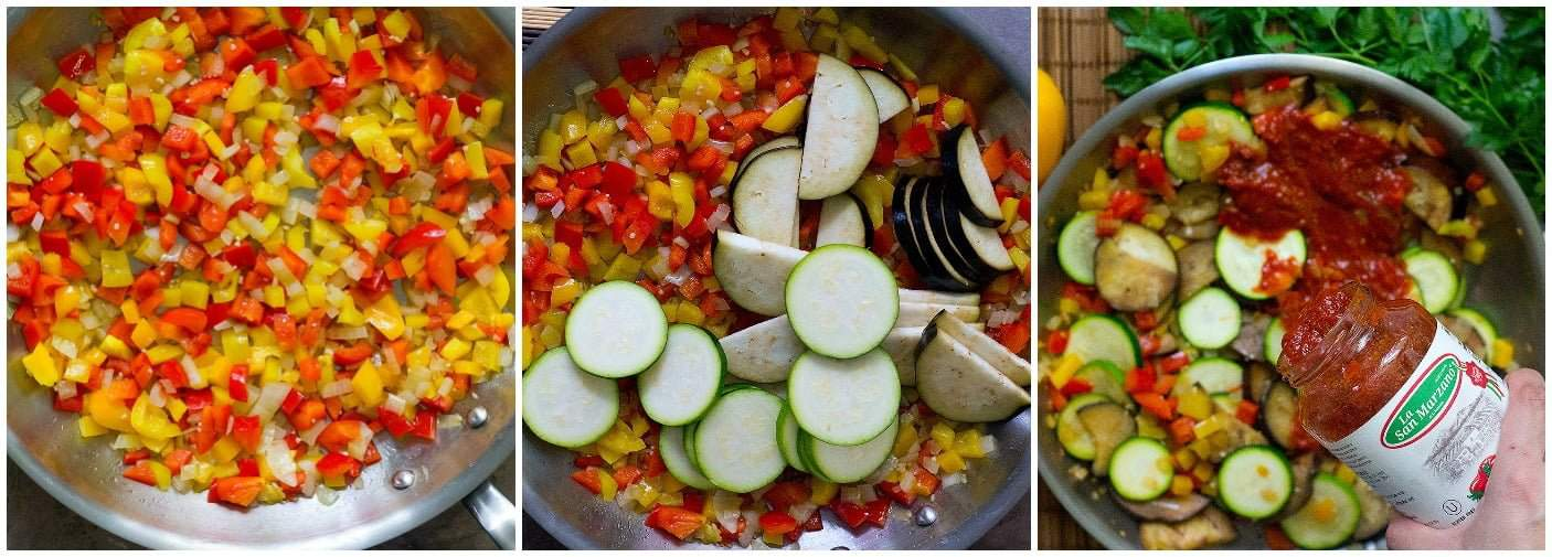 Start by sauteing the vegetables in olive oil and then add pasta sauce to the vegetables.
