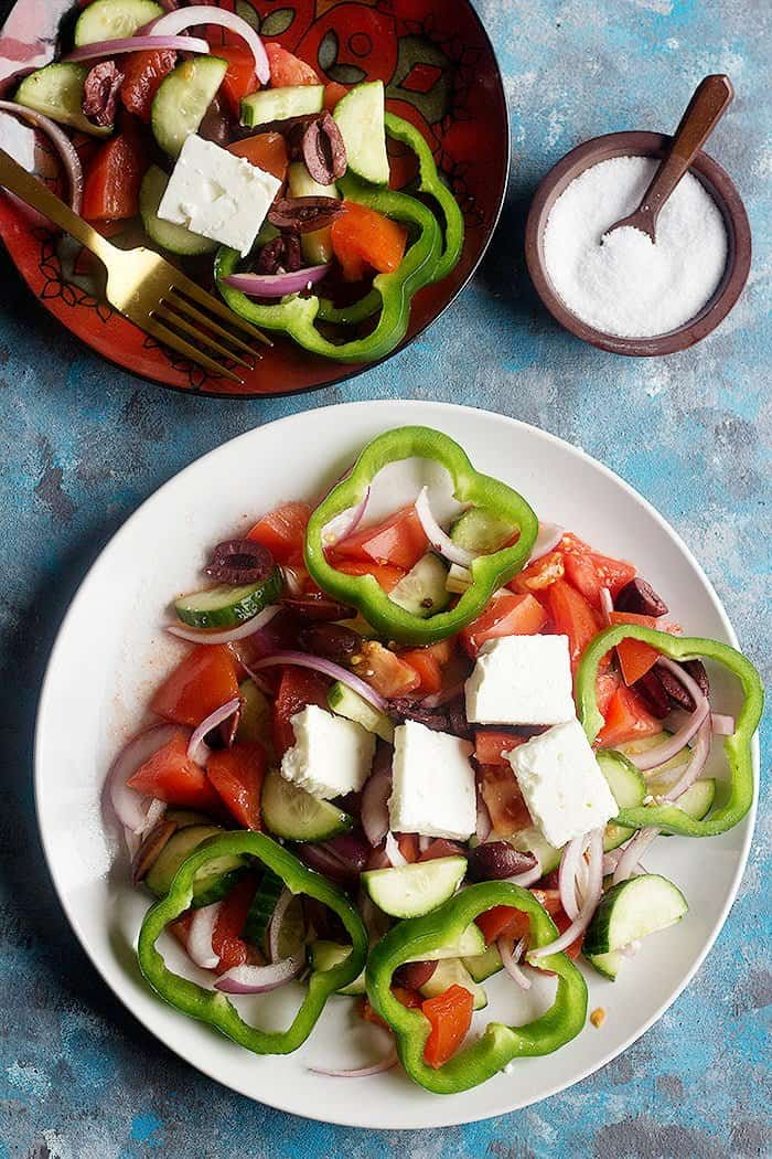 This Greek feta and cucumber salad is simple, easy and perfect for any time of the day.