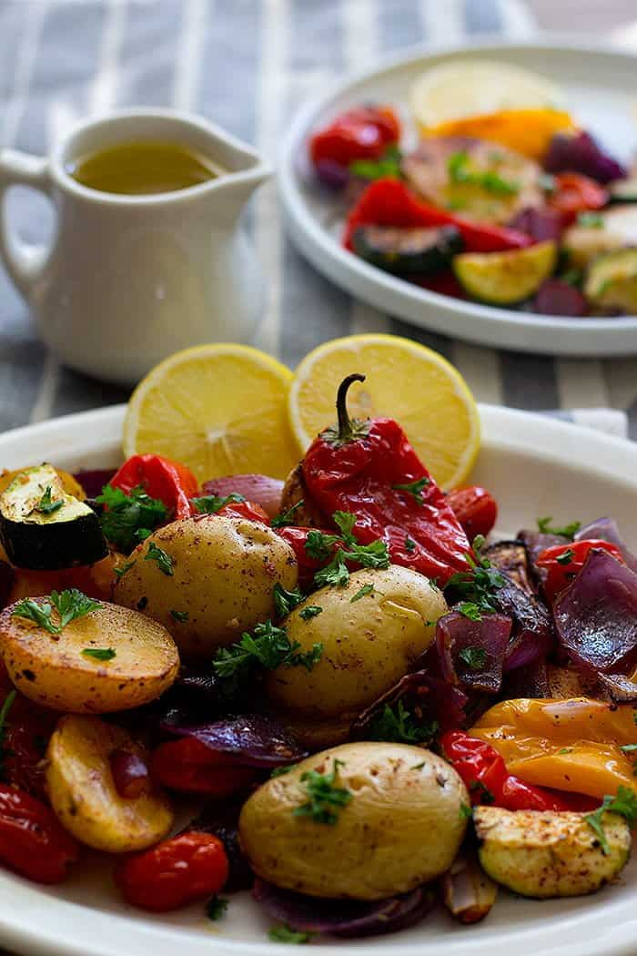 Vegetables roasted with Mediterranean spices are packed with flavor.
