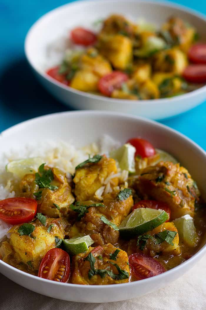 white fish like cod is perfect for a creamy fish curry.