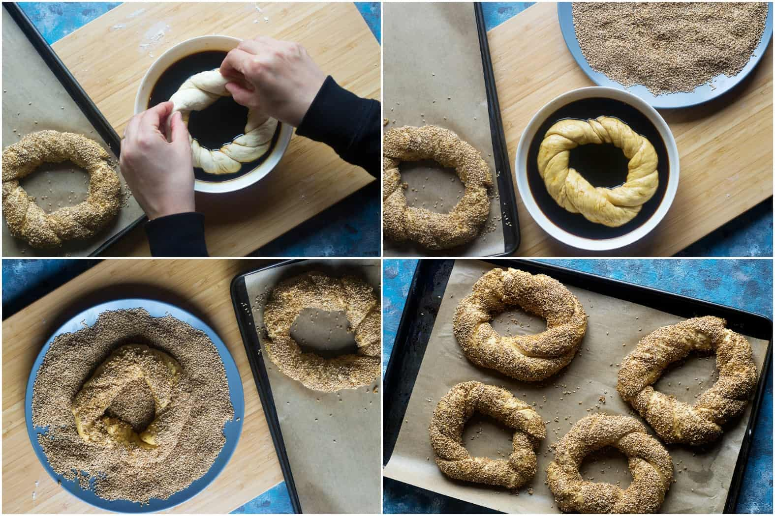 Dip each twisted dough in the molasses and water combination and make sure it's covered on both sides. Then dip them in toasted sesame seeds and ensure they are fully coated.