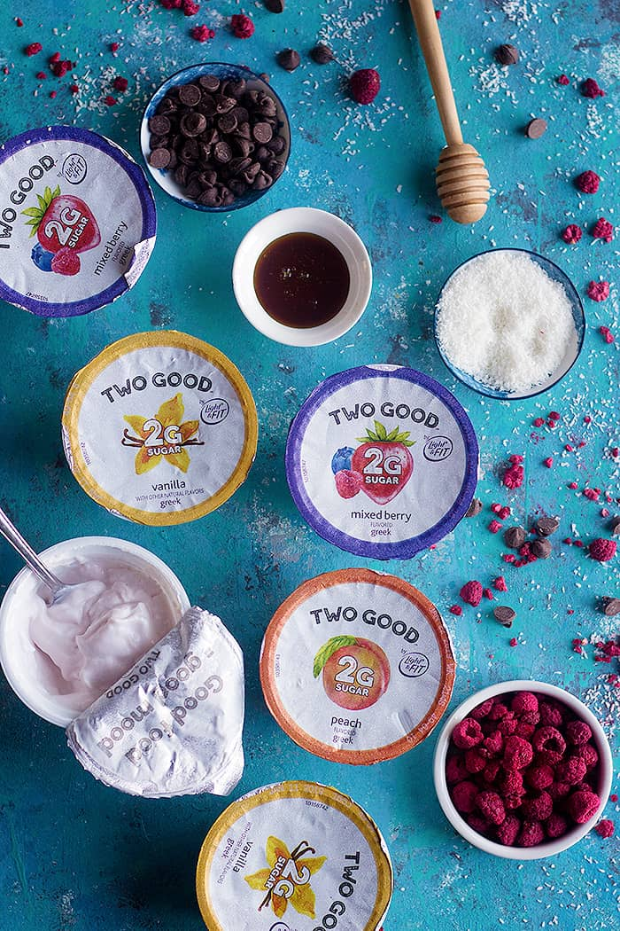 To make frozen yogurt bark you need yogurt honey dried raspberry.