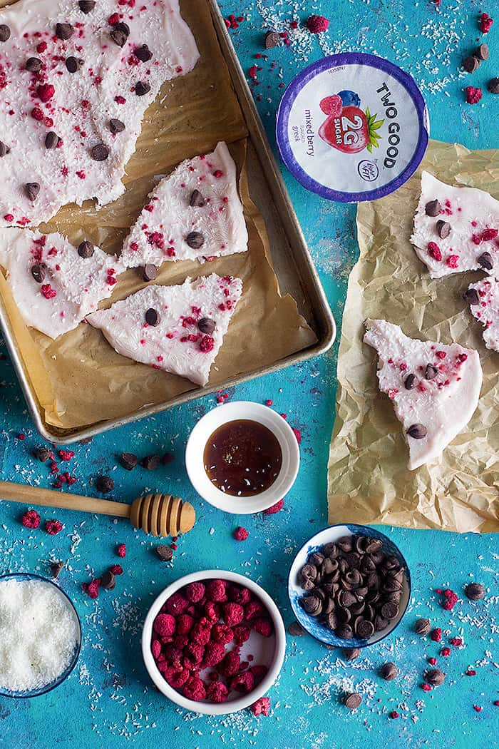 break the yogurt bark into pieces and serve immediately.