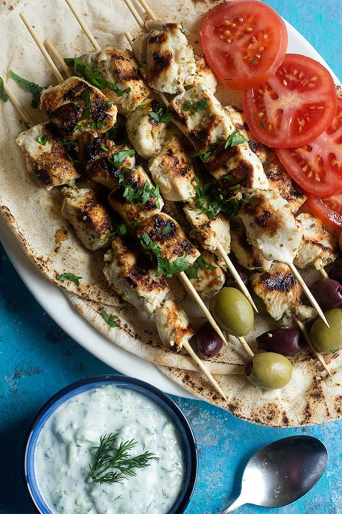 grilling recipes:  chicken souvlaki is a Greek dish served with pita.