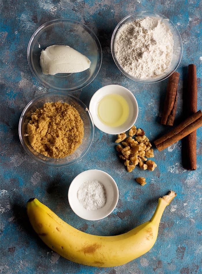 To make banana bread in a mug you need banana brown and granulated sugar plus yogurt oil and flour.