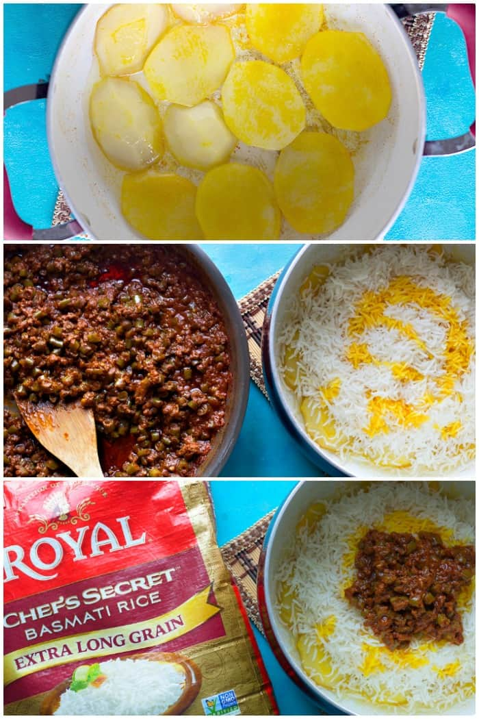 Place potatoes on the bottom of the pot and layer rice and meat sauce in the pot.