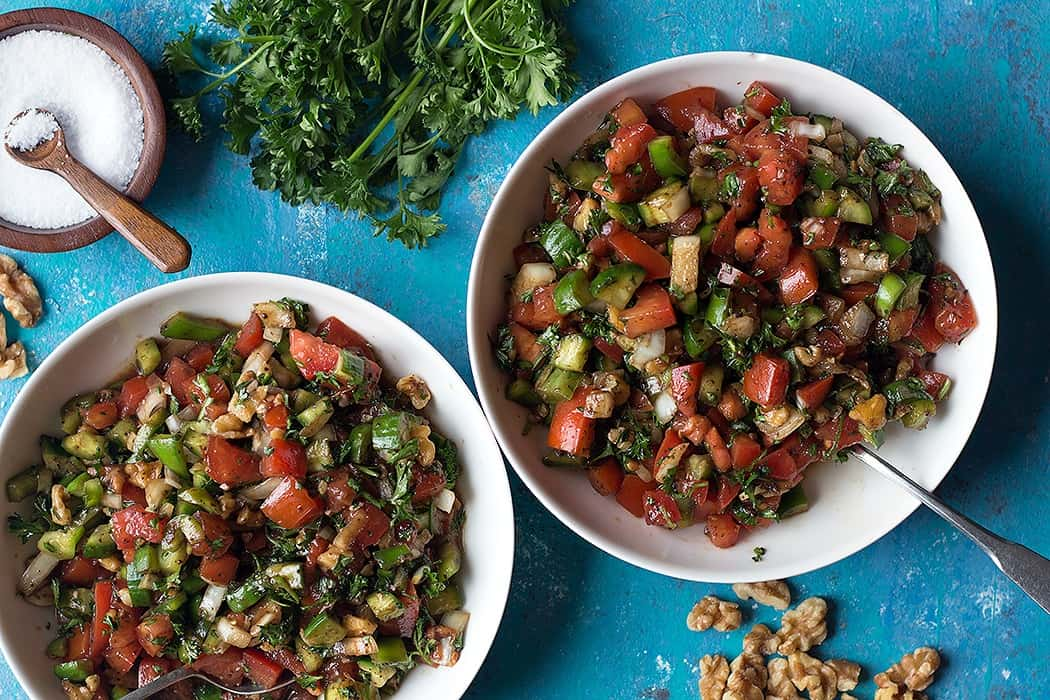 Easy Turkish style salad made with fresh ingredients. It's perfect for summer.