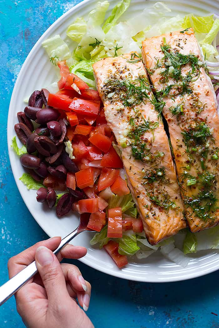Try a delicious Mediterranean style Alaska salmon salad recipe that's perfect for a light lunch or dinner. A tasty salad loaded with flaky Alaska salmon, olives, tomatoes and cucumber and ready in no time!