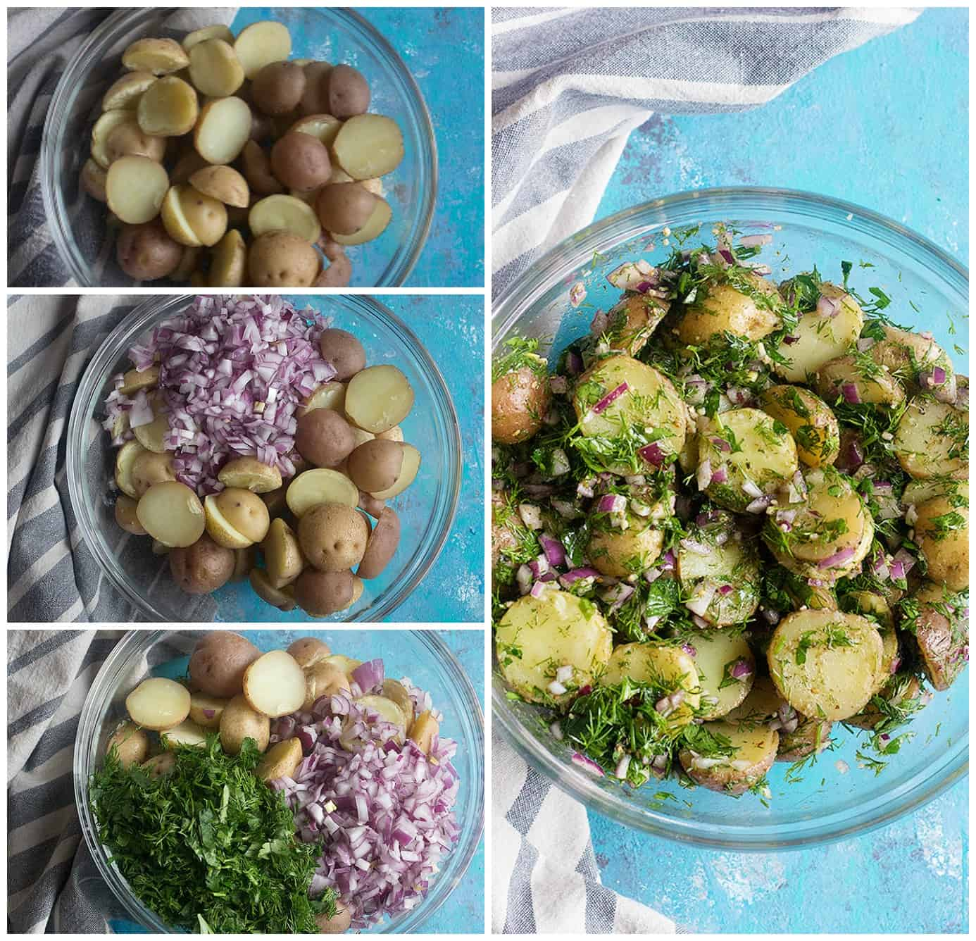 boil the potatoes, add chopped onion, parsley and dill then mix with the dressing.