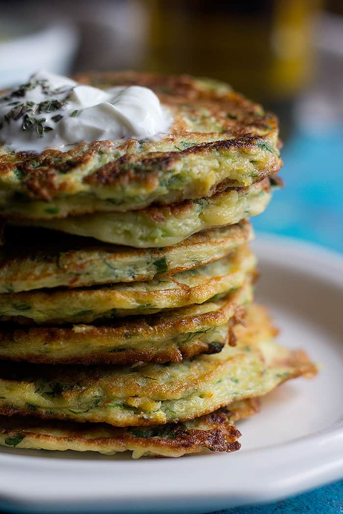 A stack of mucver with yogurt on top.