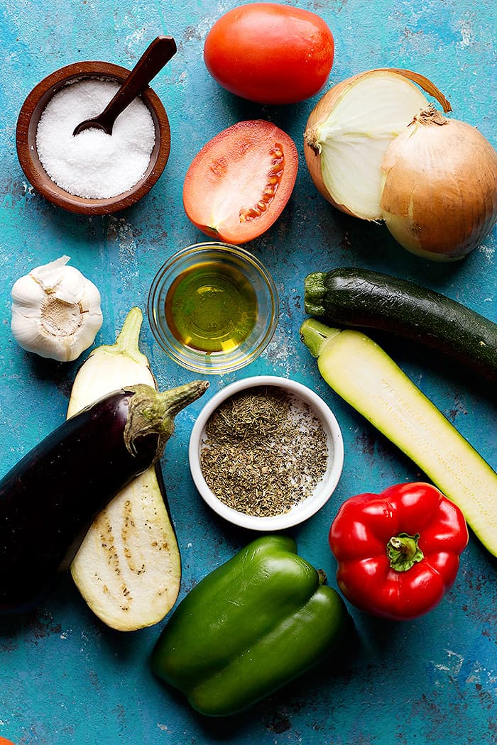 to make ratatouille you need onion, garlic, eggplant, zucchini, peppers, tomatoes and olive oil.