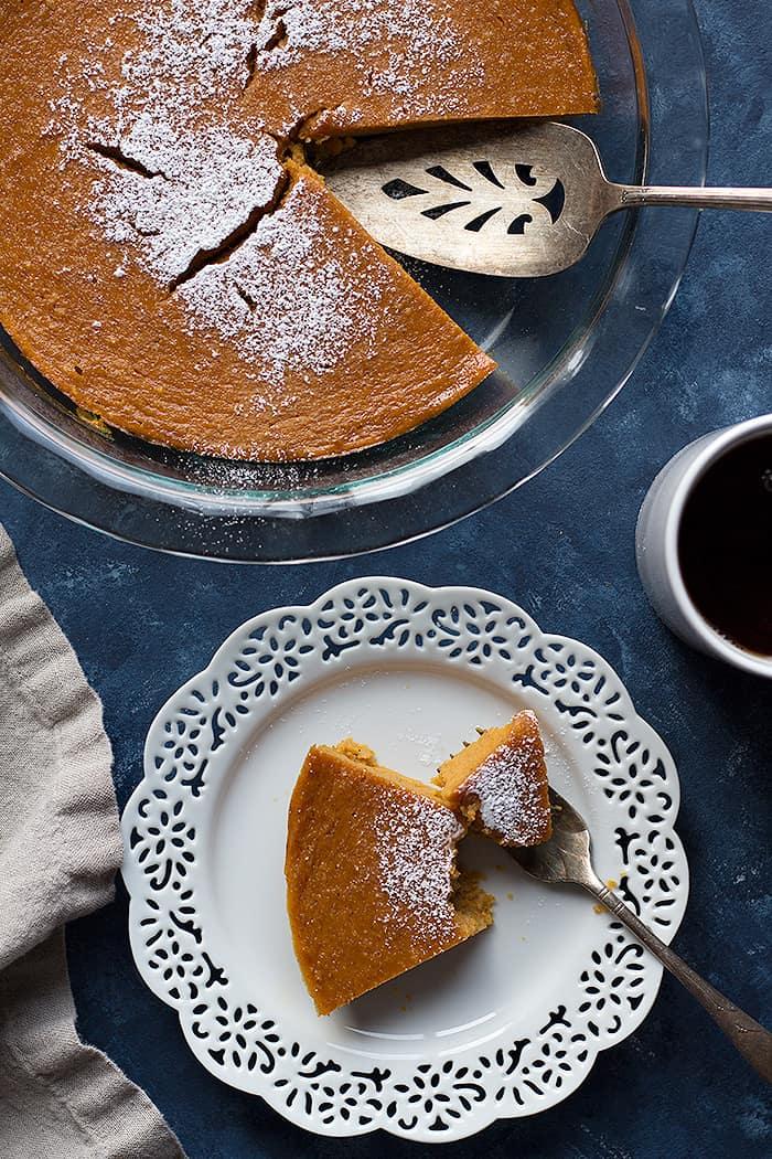 crustless pumpkin pie slice cut into pieces.