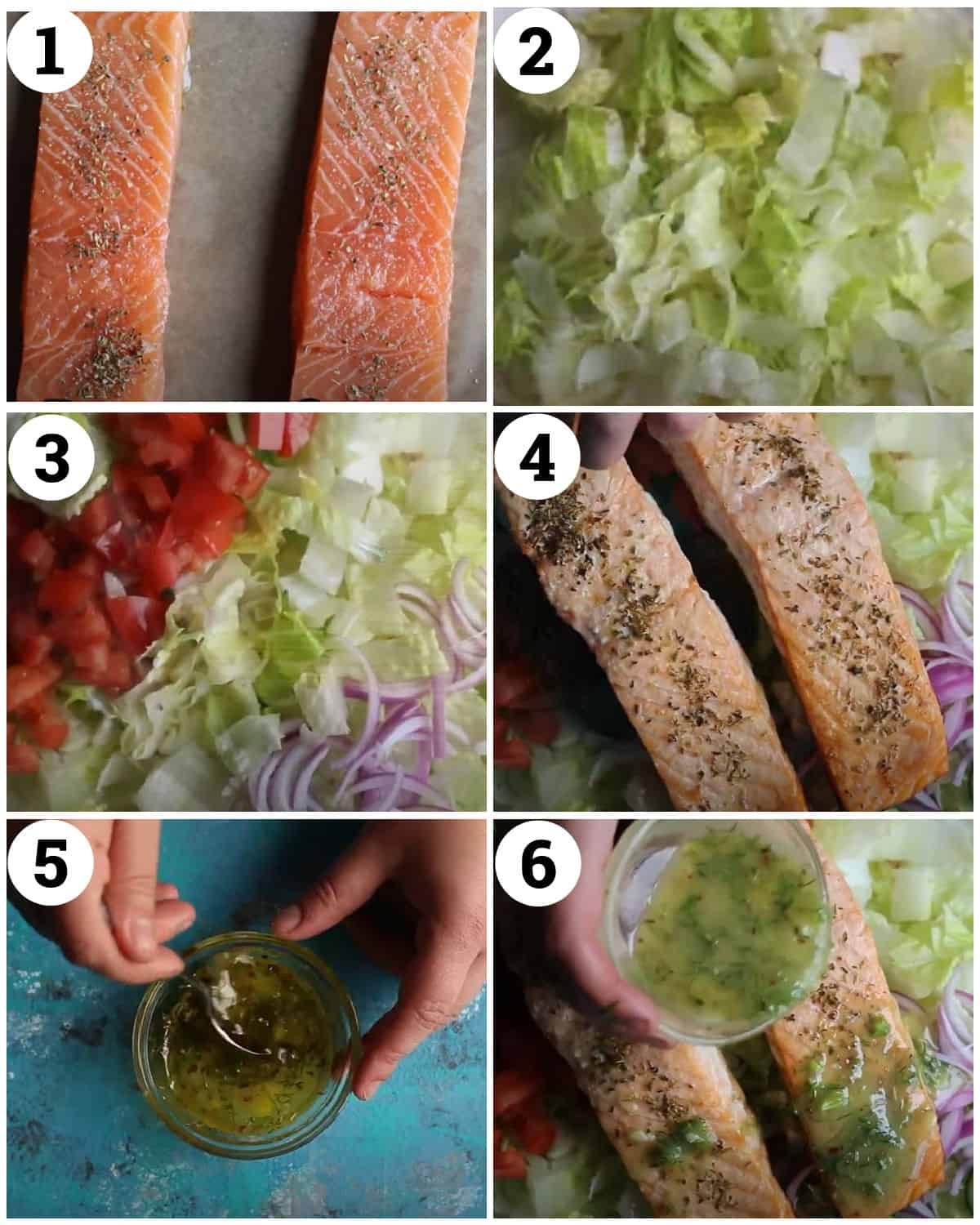 season and bake the salmon. Add it to the chopped vegetables on a plate and top with the dressing.