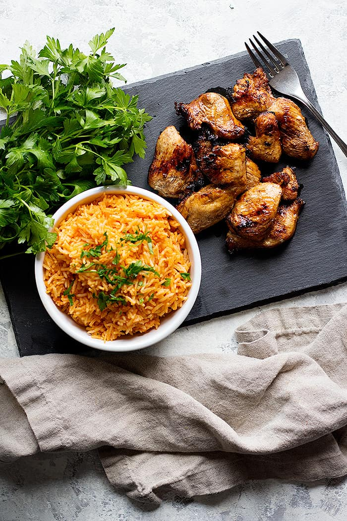 Serve this Mexican style rice with grilled chicken.