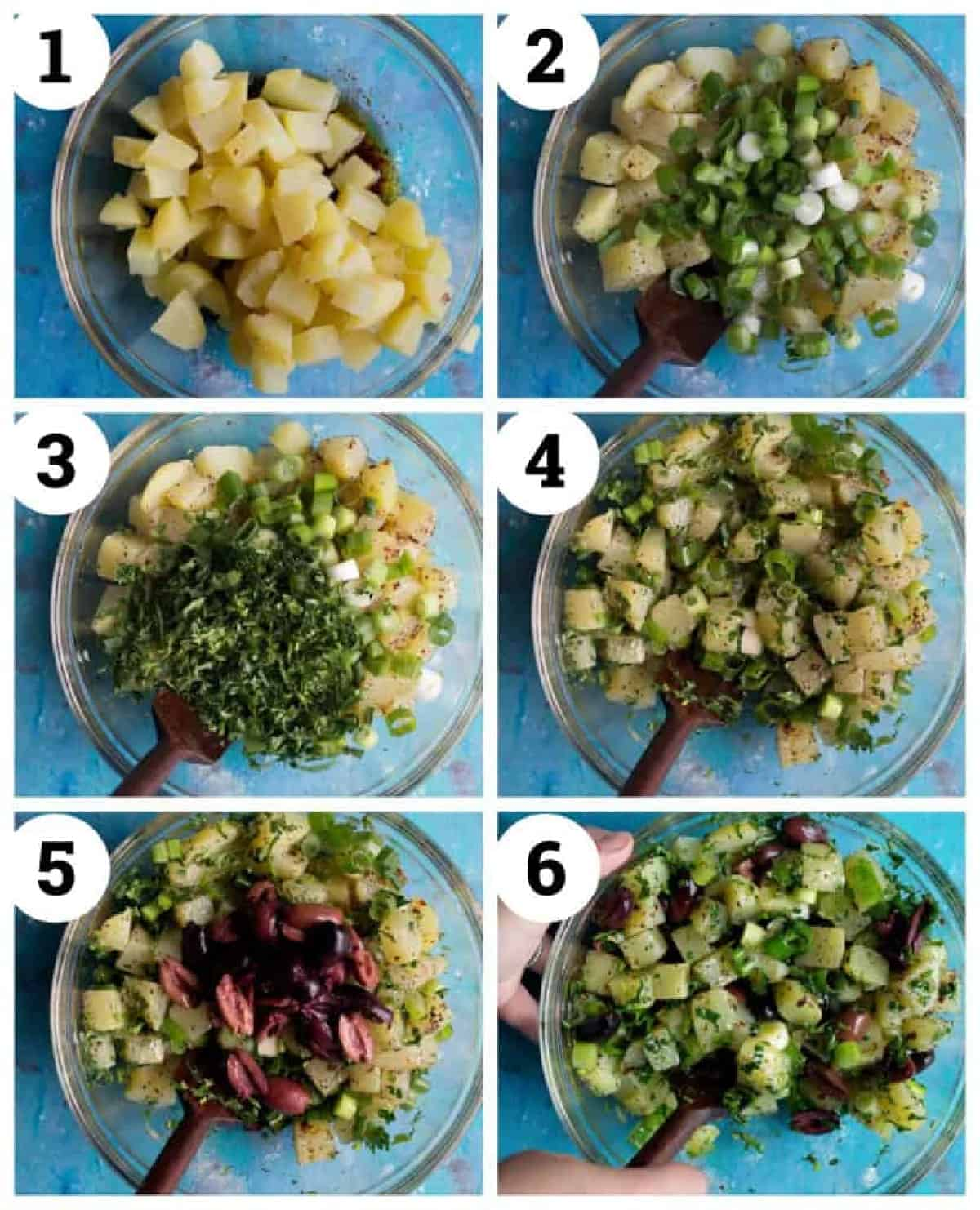 boil the potatoes, mix with the dressing and the herbs, chill in the fridge and serve.