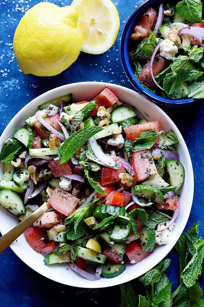 cucumber tomato feta salad perfect for summer.