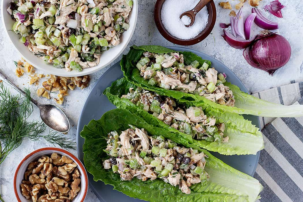 you can serve chicken salad on the lettuce leaves.
