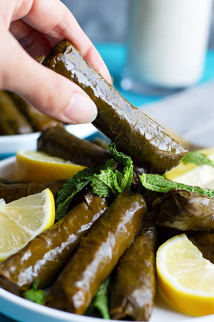 Stuffed grape leaves are also known and dolmades or dolmas.