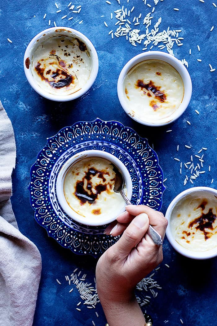 Turkish rice pudding recipe is different from other recipes because it's baked and has a brown top.